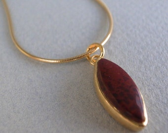 22k gold red jasper - leaf pendant