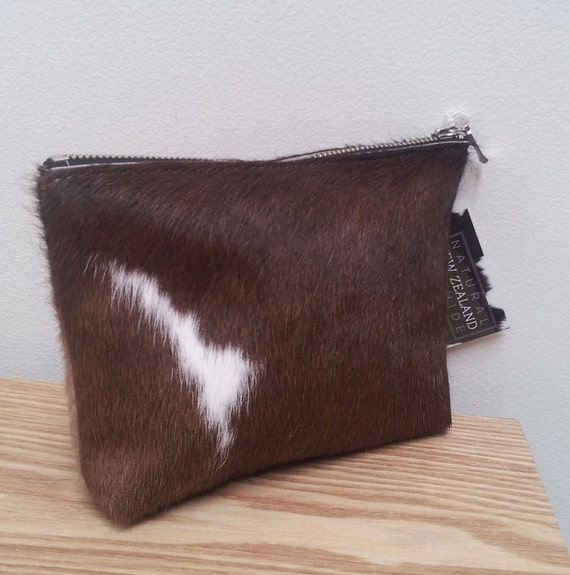 Large Cowhide leather purse (pouch) Brown and White - pony hair