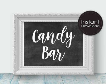 Candy Bar Sign in Chalk, Printable Wedding Sign, Love is Sweet, Printable Wedding Decor, Instant Download,Digital File