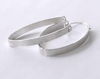 Large Silver Hoop Earrings, Modern Hoop Earrings, Contemporary Earrings, Bold Sassy Hoops