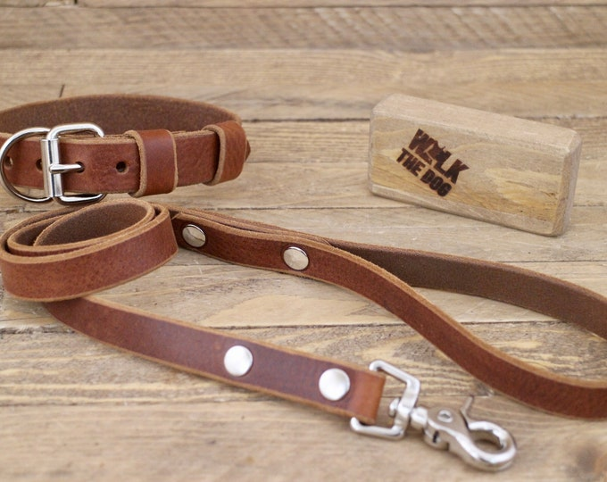 Leather dog collar, Dog leash, Set collar and leash, FREE ID TAG, Cowboy brown, Handmade leather collar, Silver hardware, Leather leash.