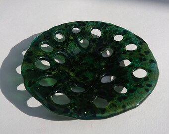 """Green Fused Glass Bowl 6"""""""