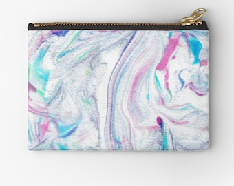 carry all pouch- marble patterned coin purse-pretty mabled design- pink and blue-cute gift for teen girl-make up bag-iphone holder