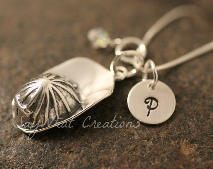 Custom Hand Stamped Sterling Silver Mini Initial Charm Necklace with Fireman Firefighter Helmet Charm