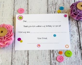 Kids Thank You Notes Fill In The Blank / Polka Dot Fill In The Blank Thank You Notes / Kids Thank You Notes / Fill In Circles Thank You Note