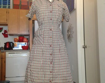1950s plaid cotton shirtwaist day dress medium