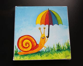 Table / kids frame: a custom painting with the name of your child (no charge).  Small snail