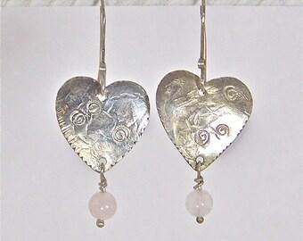 Silver Heart Earrings with Rose Quartz Gemstones