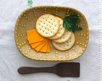 Oval Square Plate - Handmade Stoneware - 16 Color Choices - French Country Dinnerware - MADE TO ORDER