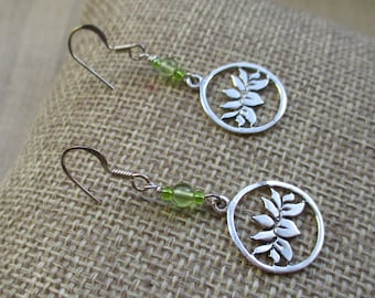 Lotus Earrings with Peridot, Peridot Earrings
