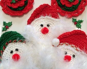Santa appliqués, Crochet Santa's,  Crochet Appliqué,   Crochet Appliqués, Christmas Santa's, Bowl Fillers, ornaments, Stocking Stuffers