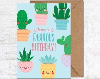 Cactus Card, Birthday Card, Birthday Card Friend, Birthday Card Funny, Cute Birthday Card, Succulent Card, Cacti Card, Birthday Card for her