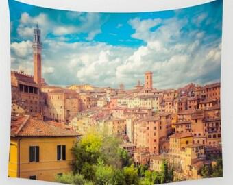 Siena Tuscany Italy Wall Tapestry, Italy Wall Art, Photo Tapestry, Living Room Wall Art, Siena, Dorm, Travel Art