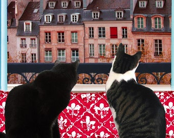 Paris Window Cat Art Prints, Illustration Art, Cat Artwork, Cat Gifts, Matted Prints, Cat Wall Art by Deborah Julian