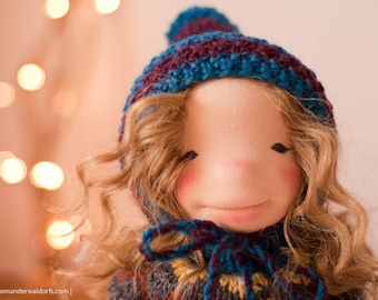 """Reserved! Eiry - 18"""" OOAK - by Down Under Waldorfs. Curly haired girl. Natural Fiber art doll. sculptured doll. OOAK"""