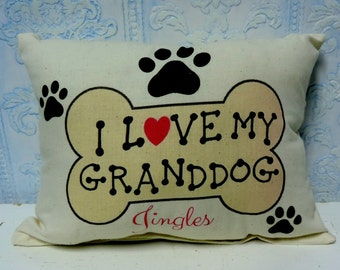 Personalized I Love My GrandDog Gift Pillow, Cushion, Custom Printed Pillow, Dog Lover Gift, Puppy Paws