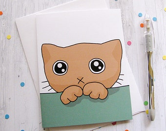 Missing You Cat Greeting Card Funny Greeting Card Cute Note Anytime Card Cat Lover Boyfriend Girlfriend Ginger Cat Sad Kitty