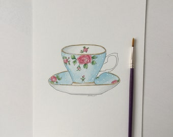 ORIGINAL (not a print) vintage tea cup illustration art painting drawing watercolour watercolor.