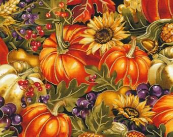 "New Autumn Fabric: Fabri-Quilt Bountiful Harvest Master Produce - Sunflower, Pumpkins, Squash 100% cotton fabric by the yard 36""x43"" (FQ141)"
