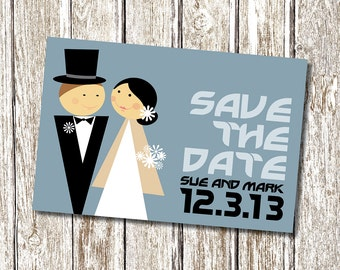 Cute Cartoon Save the Date - Printable and Personalised