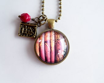 Book Necklace - Gift For Writer - Librarian Pendant - Bibliophile Jewelry - Library Necklace - Book Lover Necklace - Literary Jewelry
