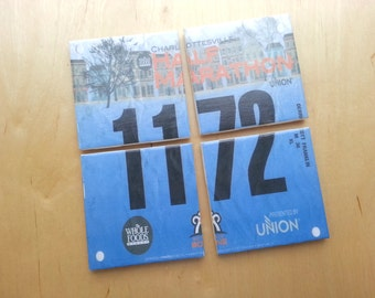 Set of 4 Race Bib Coasters - Your race bib turned into coasters - Race Bib - Gifts for Runners - Race Bib Display
