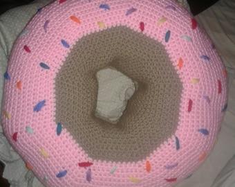 Donut pillow, 2 foot circle doughnut cushion, novelty pillow, children's decor, decorative pillow, gag gift, fun pillow,