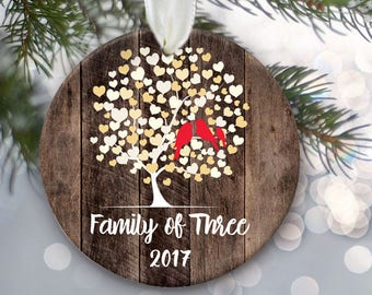 2017 Lovebirds Family of Three Ornament, Personalized Christmas Ornament Rustic faux / fake wood Ornament Family of 3 Not personalized OR004