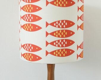 Red Lampshade Newlyn Fish print Drum Lamp Light Shade