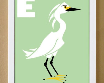 alphabet letter E, egret, custom colors, children's letter art, letter print, nursery decor, kids initials, 4X6, 5X7, 8X10