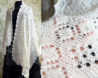 White lace shawl, Natural white merino wool wrap, Big shawl with ornament, Hand knitted wrap, Winter accessories, Handmade wedding shawl