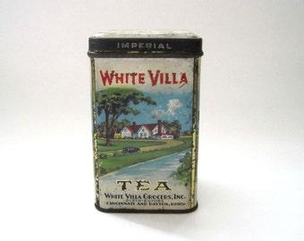 Vintage Tea Tin, White Villa Grocers, Sunshine Farms, Antique Tin Box, Storage Box, Kitchen Storage, Tea Canister, Gift Idea, Retro Tin Box