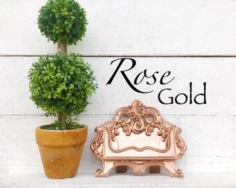 Business Card Holder, Desk Decor, Office Decor, Recipe Card Holder,Desk , Display Craft, Victorian Home Office, Rose Gold Office Decor ,