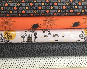Halloween Fabric Bundle of 5 , From Riley Blake Fabrics,  All Quilt Shop Quality, Select A Size