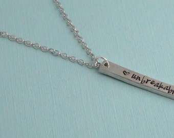 Chunky bar necklace / Unbreakable necklace / Pewter bar necklace / Sterling silver filled chain