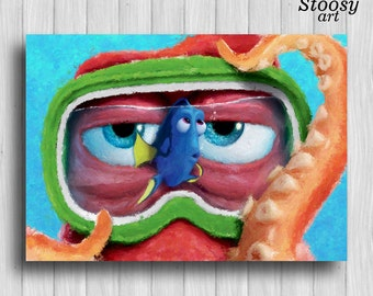 dinsey poster finding dory decor pixar art disney watercolor