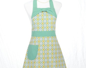 Cute  Womens Full Handmade Hostess/Kitchen/ Chef Apron in Aqua, Yellow and White With Aqua Trim and Bow