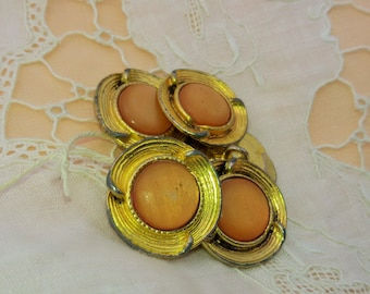 50's Peach & Gold Buttons Set of 6 Round Shape Vintage French Fashion Button Sewing Jewelry Assemblage #sophieladydeparis