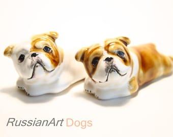 English bulldog dog ceramic figurine handmade statue