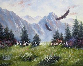 Mountain Eagles ORIGINAL Painting 12X16, eagle paintings, mountain paintings, mountain meadow original eagle art, Vickie Wade Art