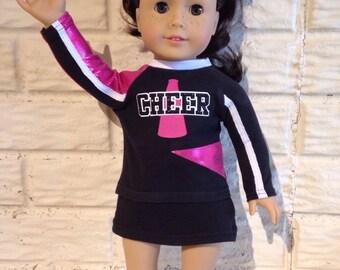 18 Inch or 15 Inch Dolly Pink/Black Cheerleader Uniform