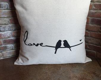 Lovebirds Pillow Cover, Love Pillow, Bird Pillow Cover, Valentine Pillow Cover, 16x16, 18x18, Canvas Pillow Cover, Throw Pillow, Love, Birds