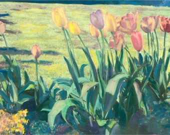 SPring Garden of Tulips Hand Colored Photography