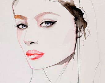 Fashion Illustration Art Print, Portrait, Mixed Media Painting by Leigh Viner - Winged