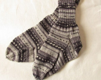 Hand Knitted Gray Striped Washable Wool Socks