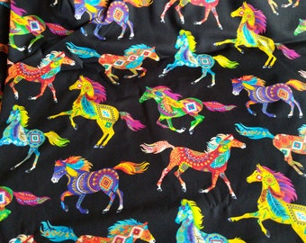 Cotton Fabric, 1/2 Yard, Painted Horses, Southwest, Native American,  Bright Turquoise Yellow Green, Red, Quilt, Quilting, Pillow, Sewing