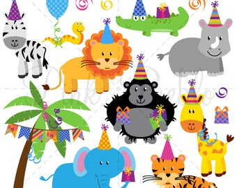 Birthday Party Animals Clipart Clip Art, Zoo Safari Jungle Animals Clipart Clip Art Vectors for Invitations - Commercial and Personal Use
