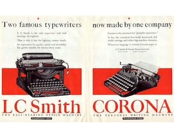 Instant Download Printable Art, Smith Corona, Typewriter, Vintage Typewriter, Color Large Ad, Wall Art Decor, Digital Download