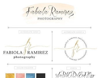 Mini Branding Package, Photography Logo and Watermark, Gold and pink logo suite, Premade Marketing Kit PM039