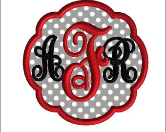 Scalloped Circle Monogram Frame, Machine Embroidery Design, 10 size applique, No fonts included
